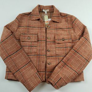 NWOT Gianni Bini Rust Plaid Crop Jacket Size Small